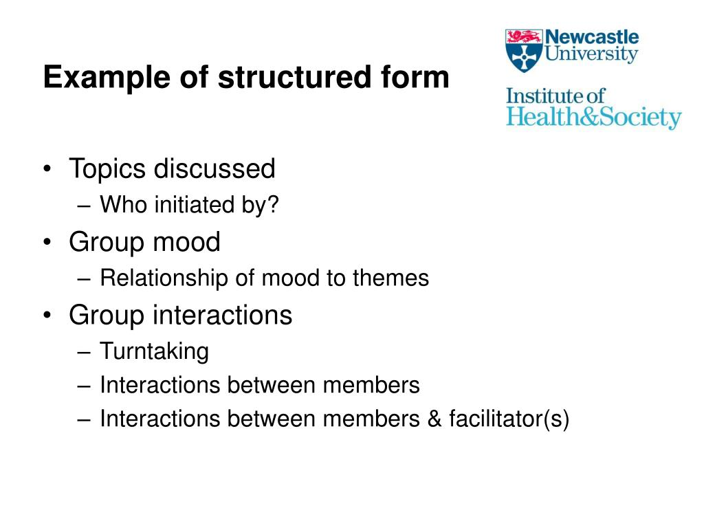 Example of structured form