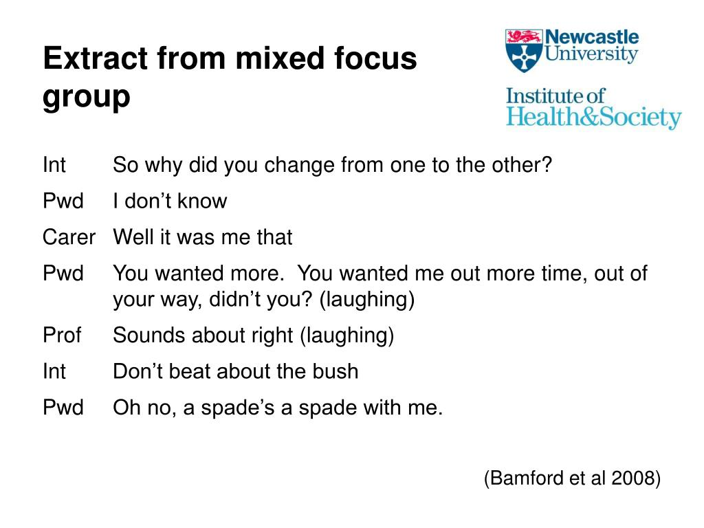 Extract from mixed focus group