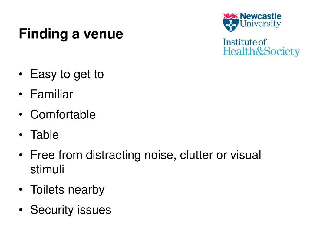 Finding a venue