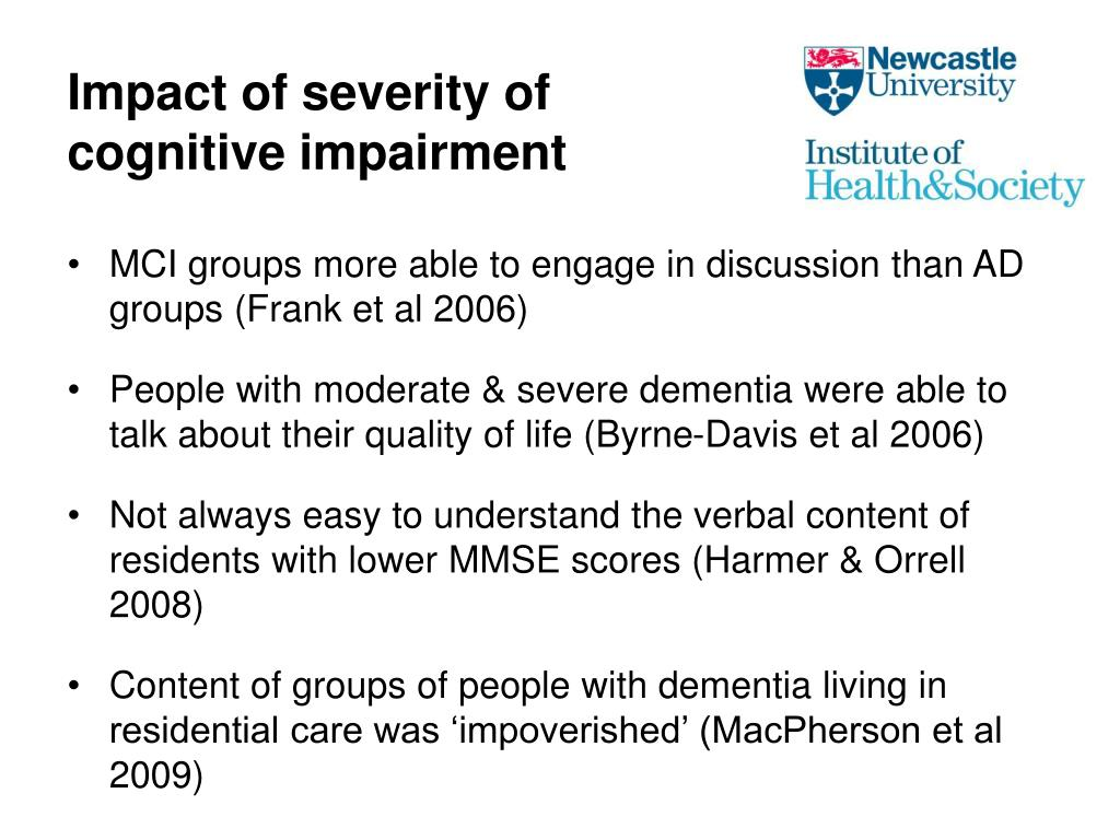 Impact of severity of cognitive impairment