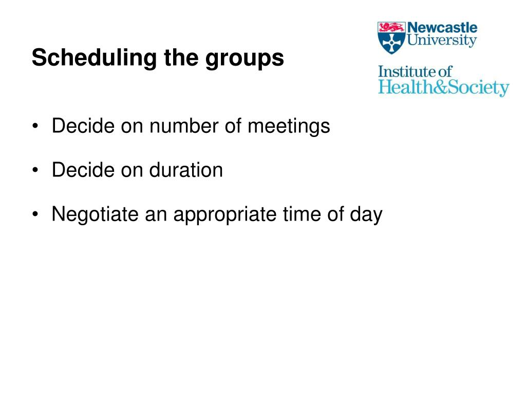 Scheduling the groups