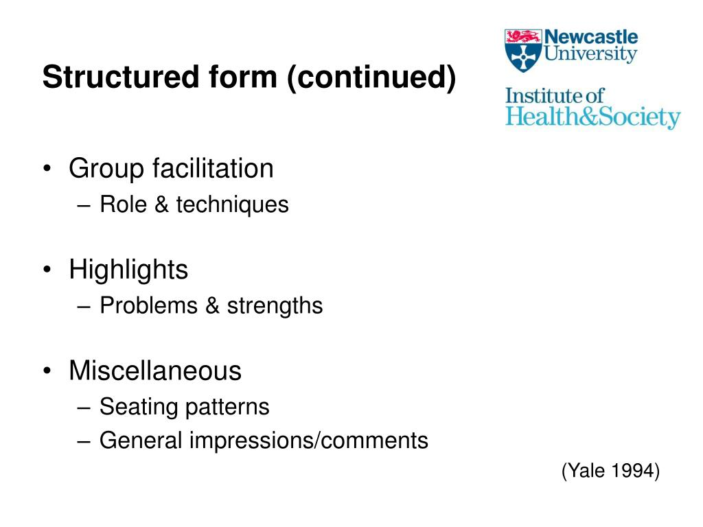 Structured form (continued)