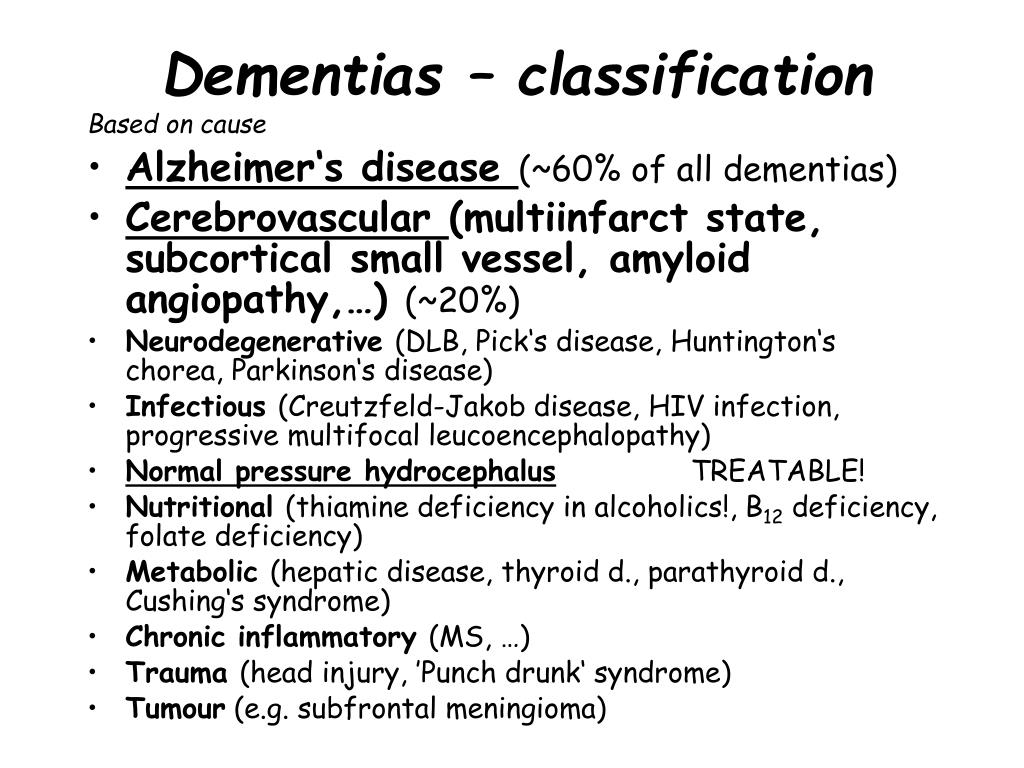 Dementias – classification