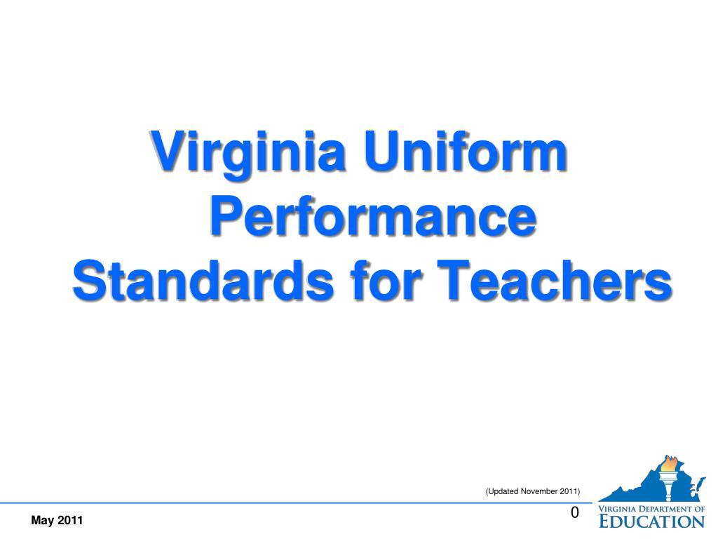 Virginia Uniform Performance Standards for Teachers