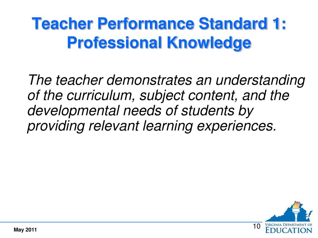 Teacher Performance Standard 1:  Professional Knowledge
