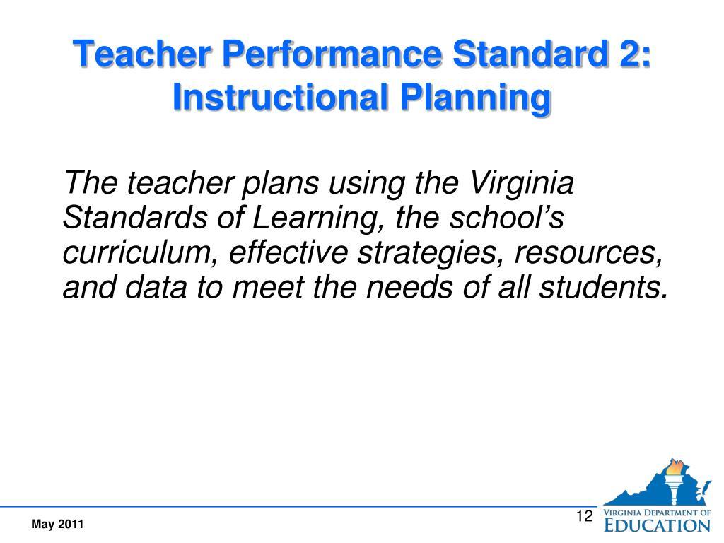Teacher Performance Standard 2:  Instructional Planning