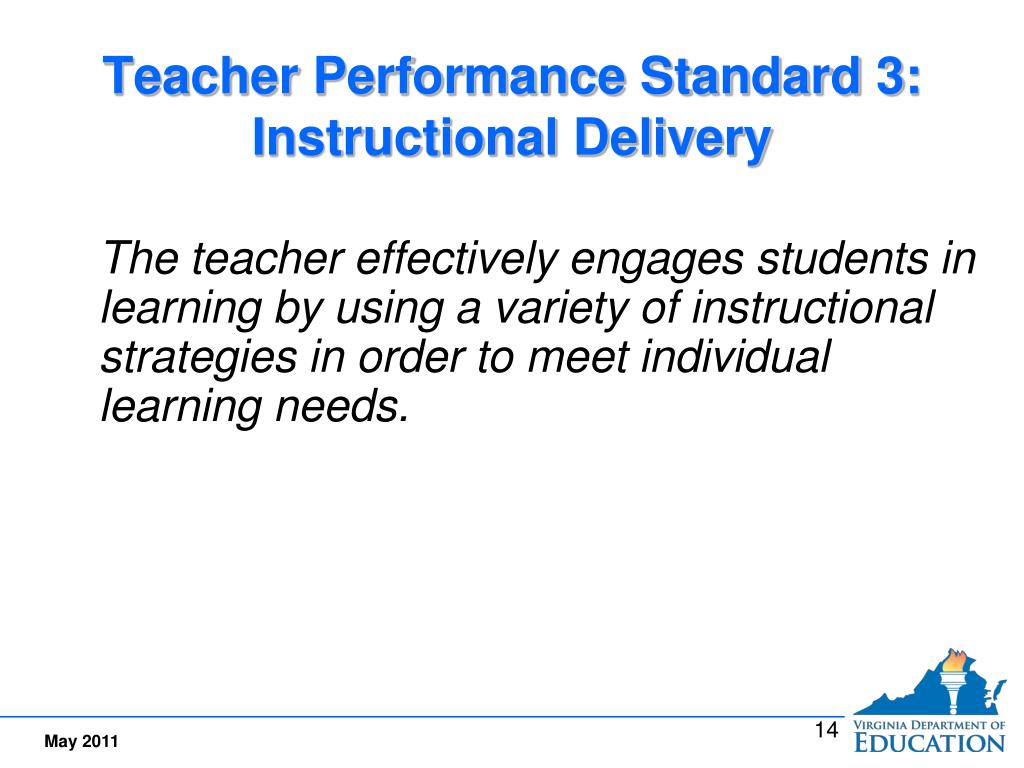 Teacher Performance Standard 3:  Instructional Delivery