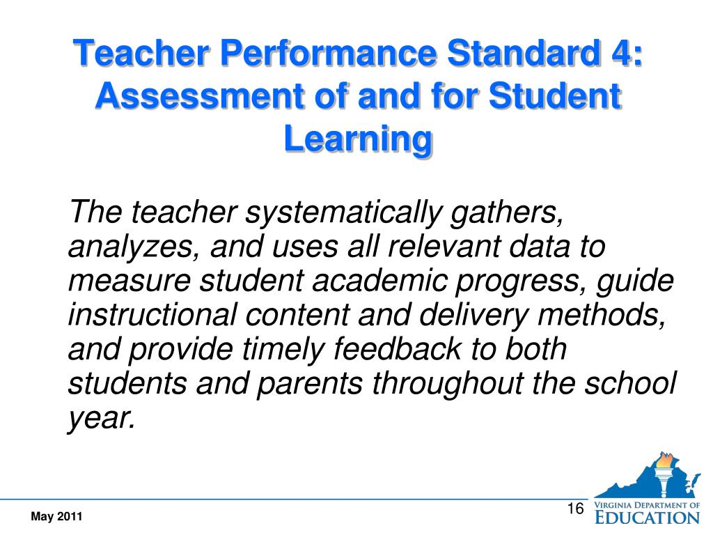Teacher Performance Standard 4:  Assessment of and for Student Learning