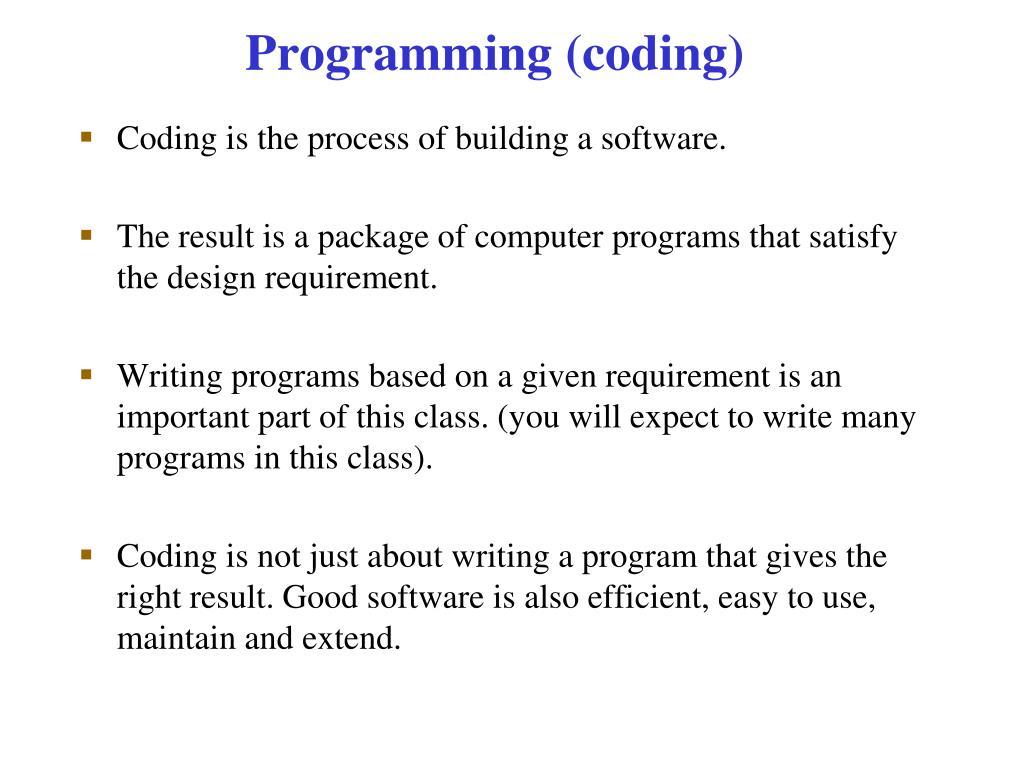 Programming (coding)