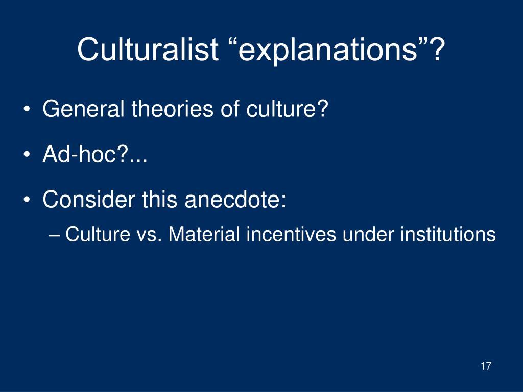 """Culturalist """"explanations""""?"""
