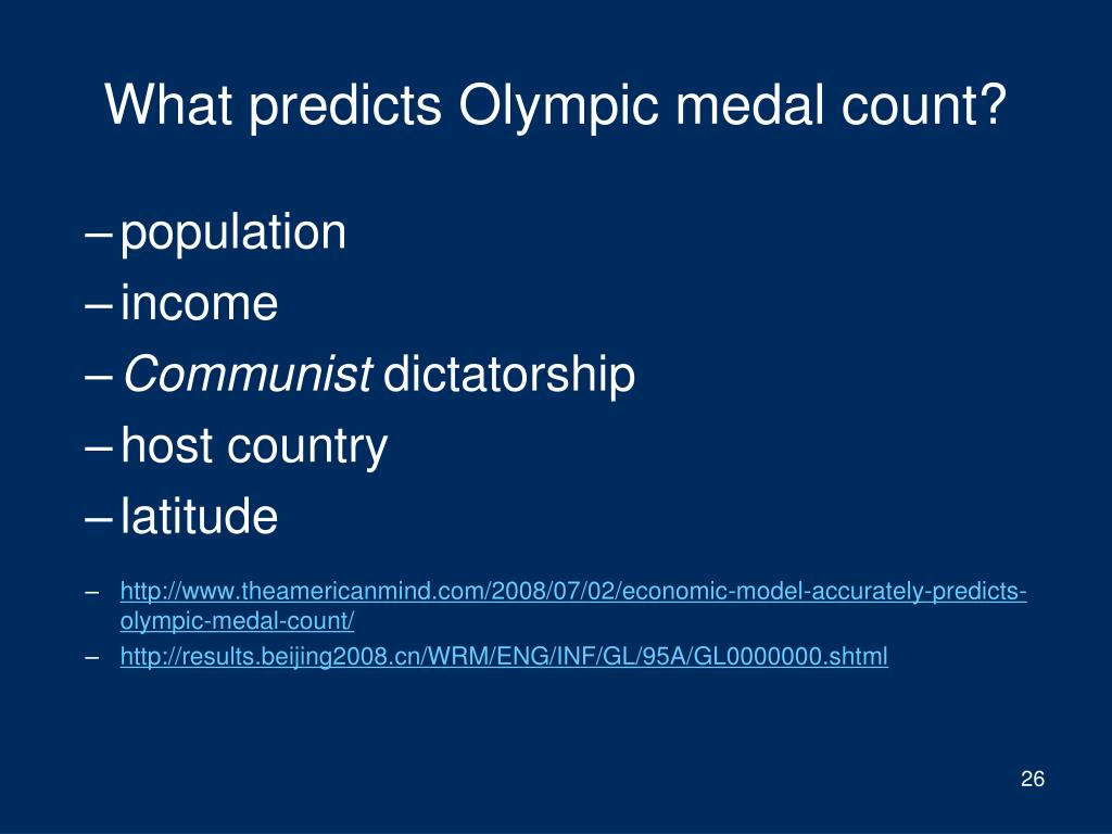 What predicts Olympic medal count?
