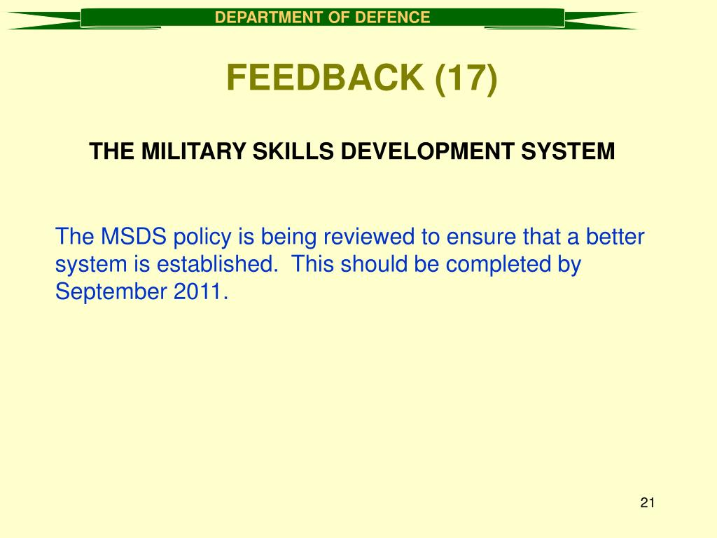 THE MILITARY SKILLS DEVELOPMENT SYSTEM