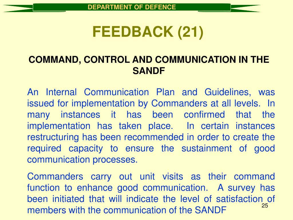 COMMAND, CONTROL AND COMMUNICATION IN THE SANDF