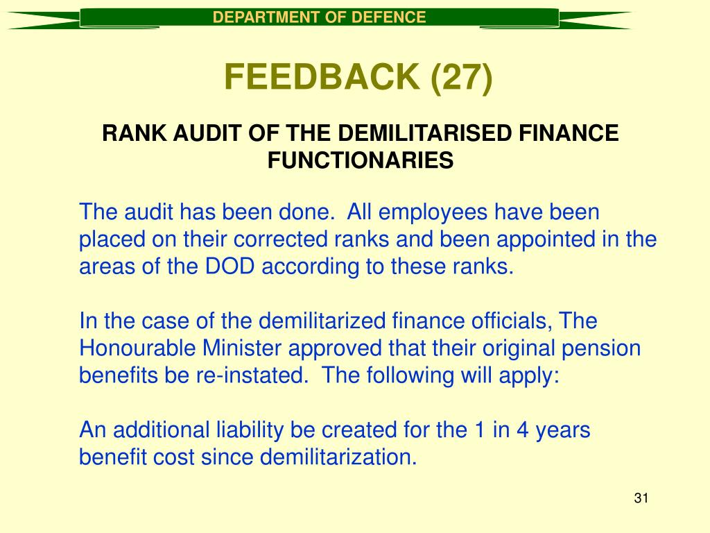 RANK AUDIT OF THE DEMILITARISED FINANCE FUNCTIONARIES