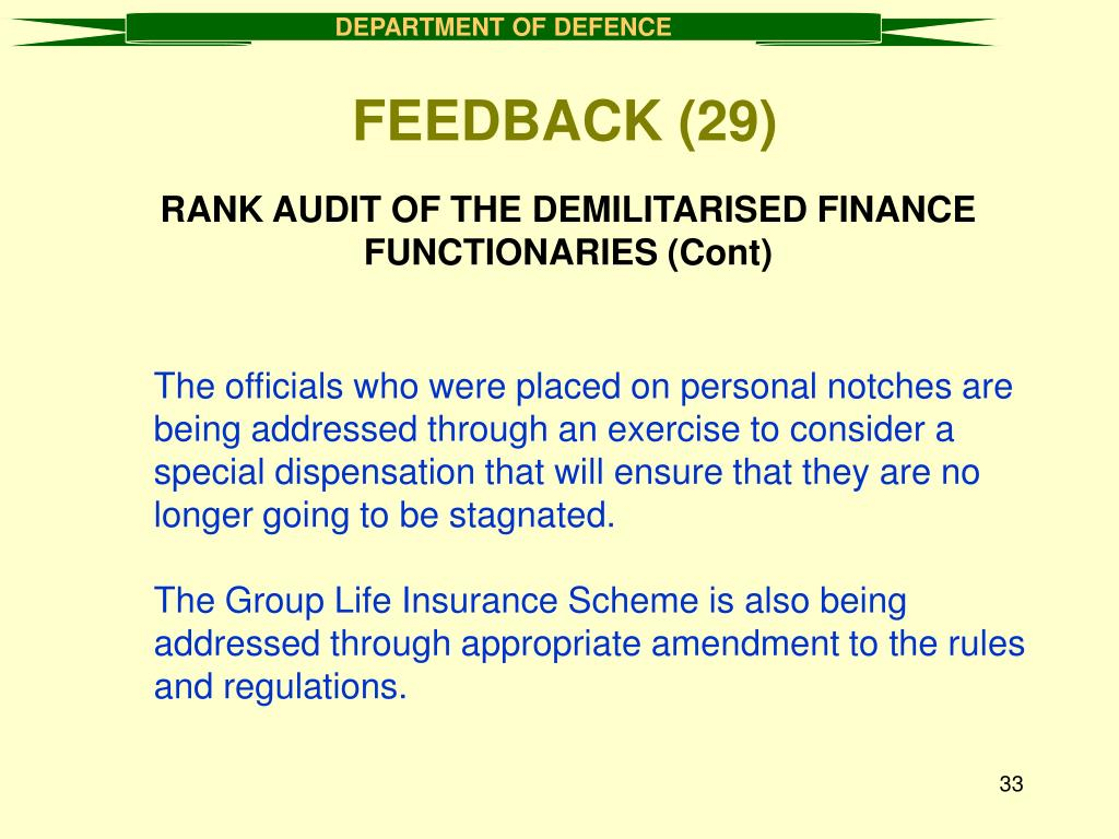 RANK AUDIT OF THE DEMILITARISED FINANCE FUNCTIONARIES (Cont)