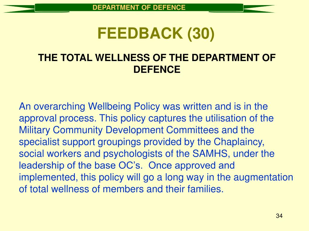 THE TOTAL WELLNESS OF THE DEPARTMENT OF DEFENCE