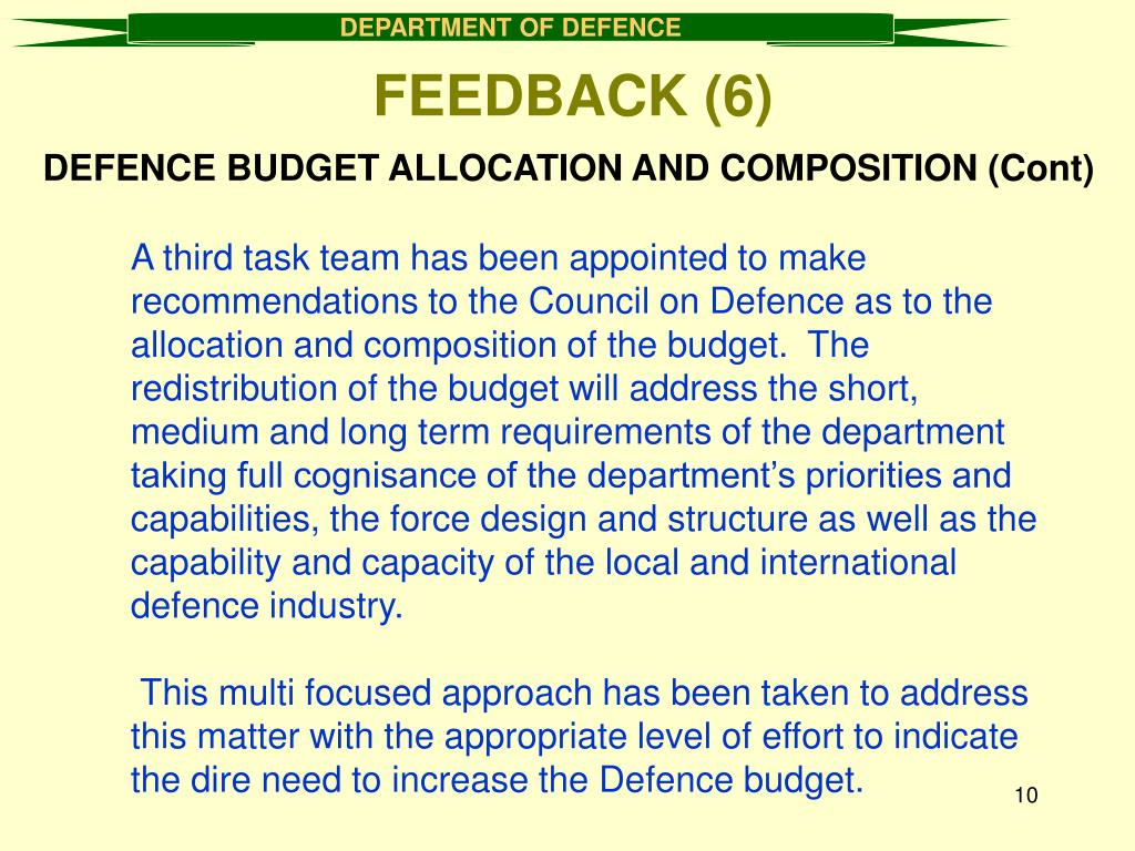 DEFENCE BUDGET ALLOCATION AND COMPOSITION (Cont)
