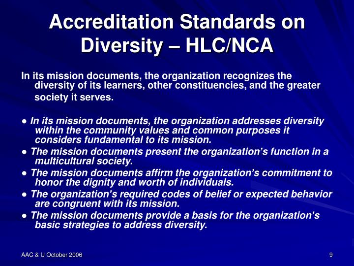 Accreditation Standards on Diversity – HLC/NCA