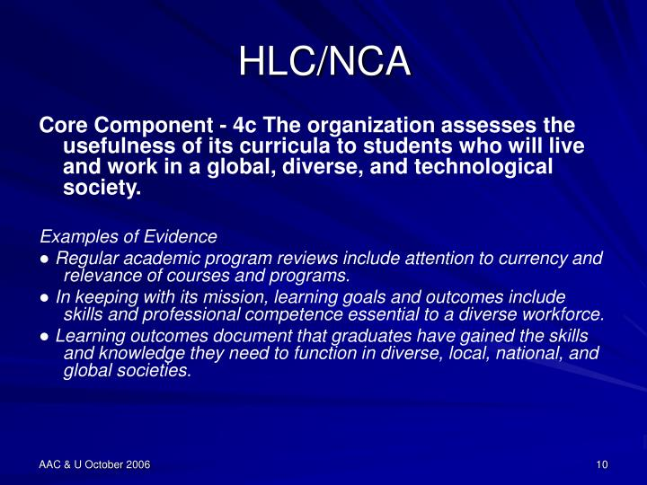 HLC/NCA