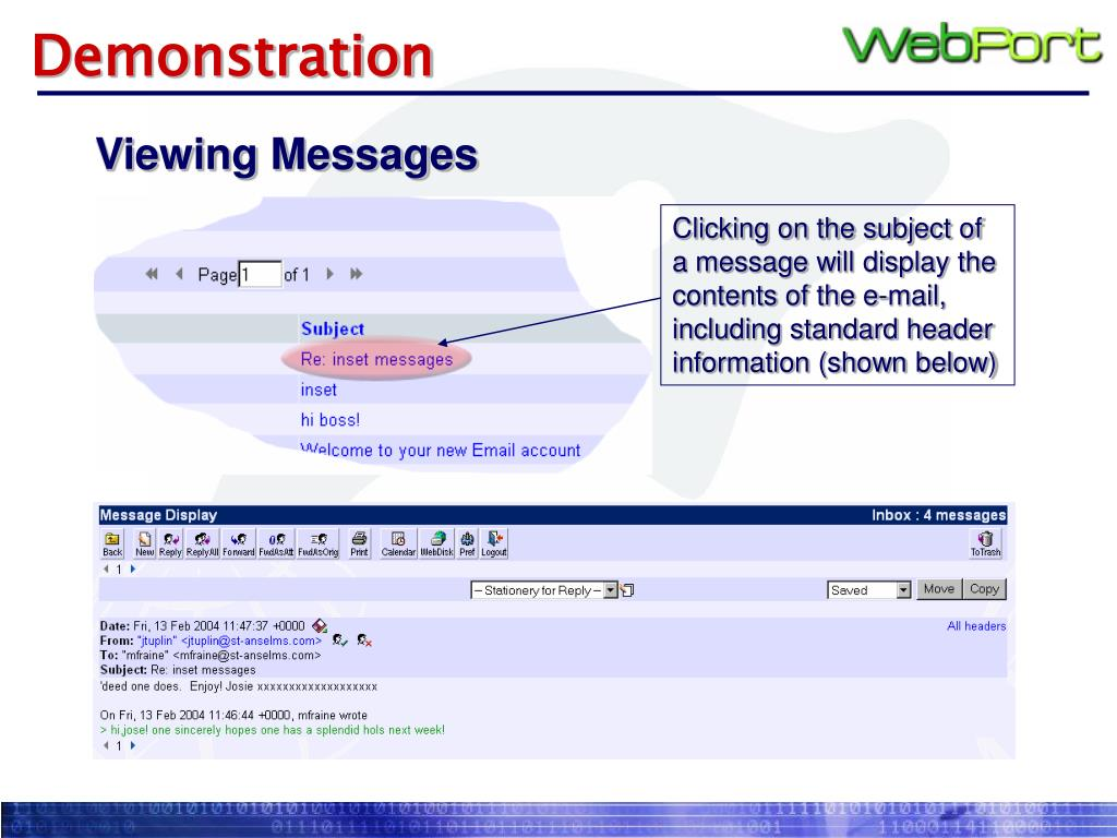 Clicking on the subject of a message will display the contents of the e-mail, including standard header information (shown below)