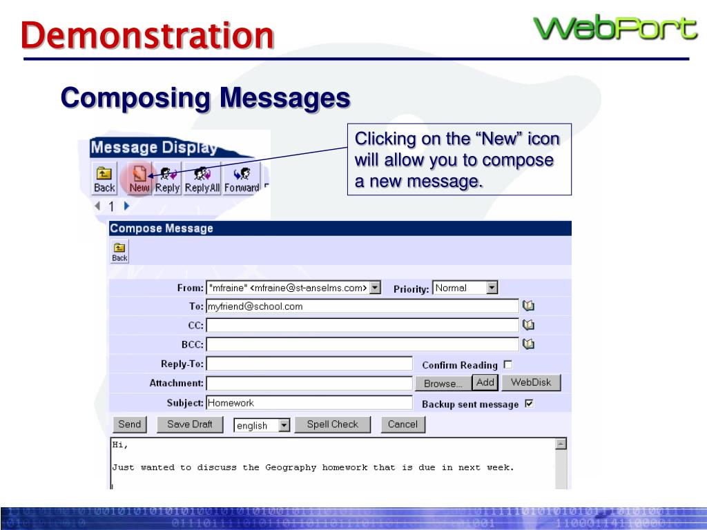 """Clicking on the """"New"""" icon will allow you to compose a new message."""