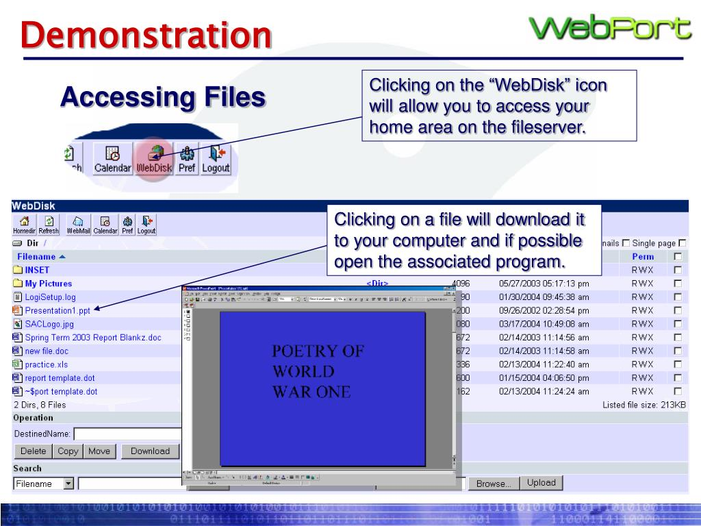 """Clicking on the """"WebDisk"""" icon will allow you to access your home area on the fileserver."""