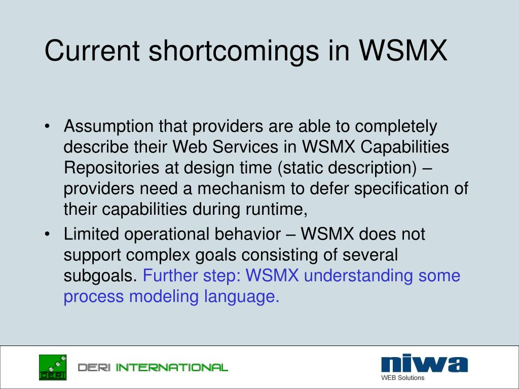 Current shortcomings in WSMX