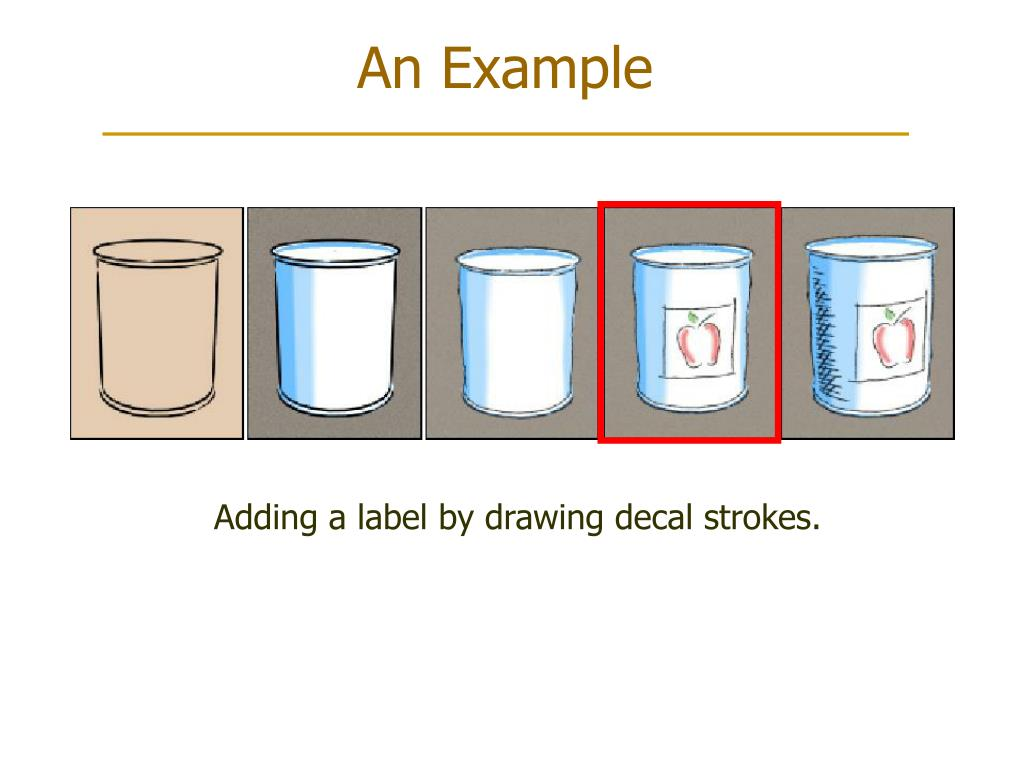 Adding a label by drawing decal strokes.