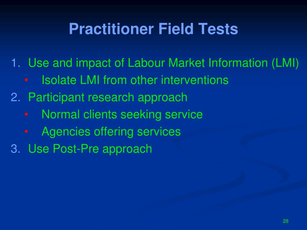 Practitioner Field Tests