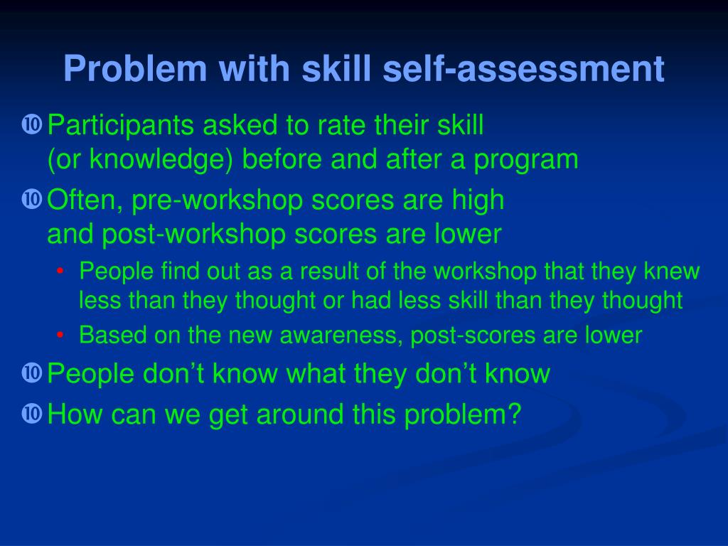 Problem with skill self-assessment