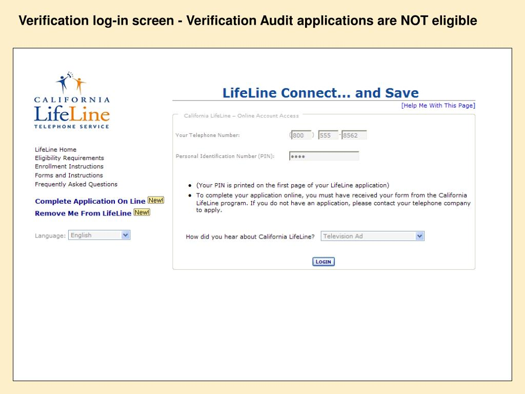 Verification log-in screen - Verification Audit applications are NOT eligible