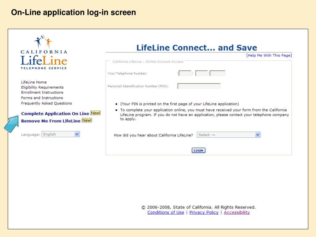 On-Line application log-in screen