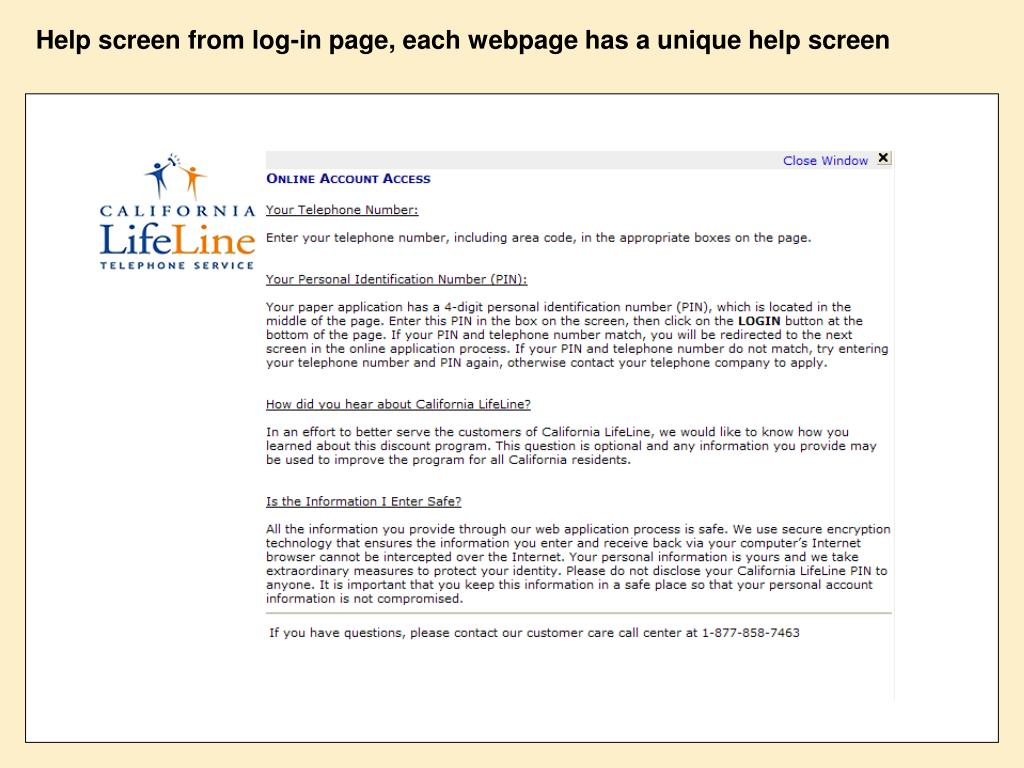 Help screen from log-in page, each webpage has a unique help screen