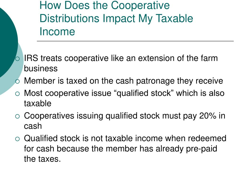 How Does the Cooperative Distributions Impact My Taxable Income