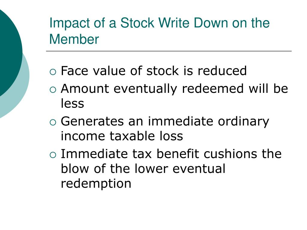 Impact of a Stock Write Down on the Member