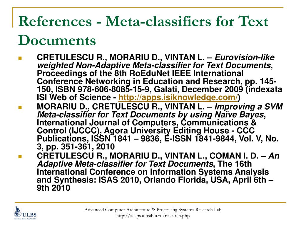 References - Meta-classifiers for Text Documents