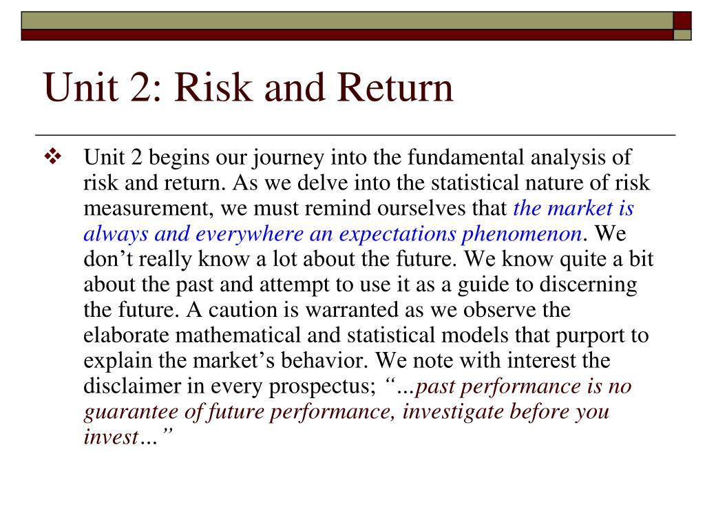 Unit 2: Risk and Return