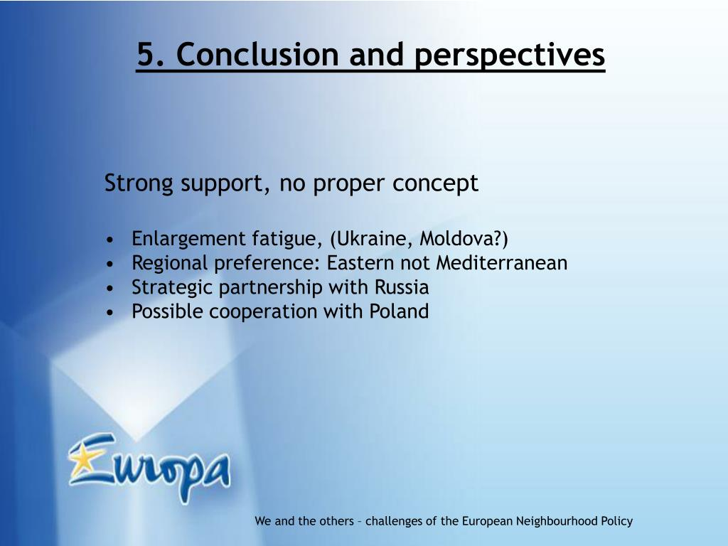 5. Conclusion and perspectives