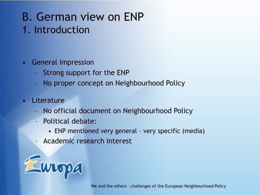B. German view on ENP