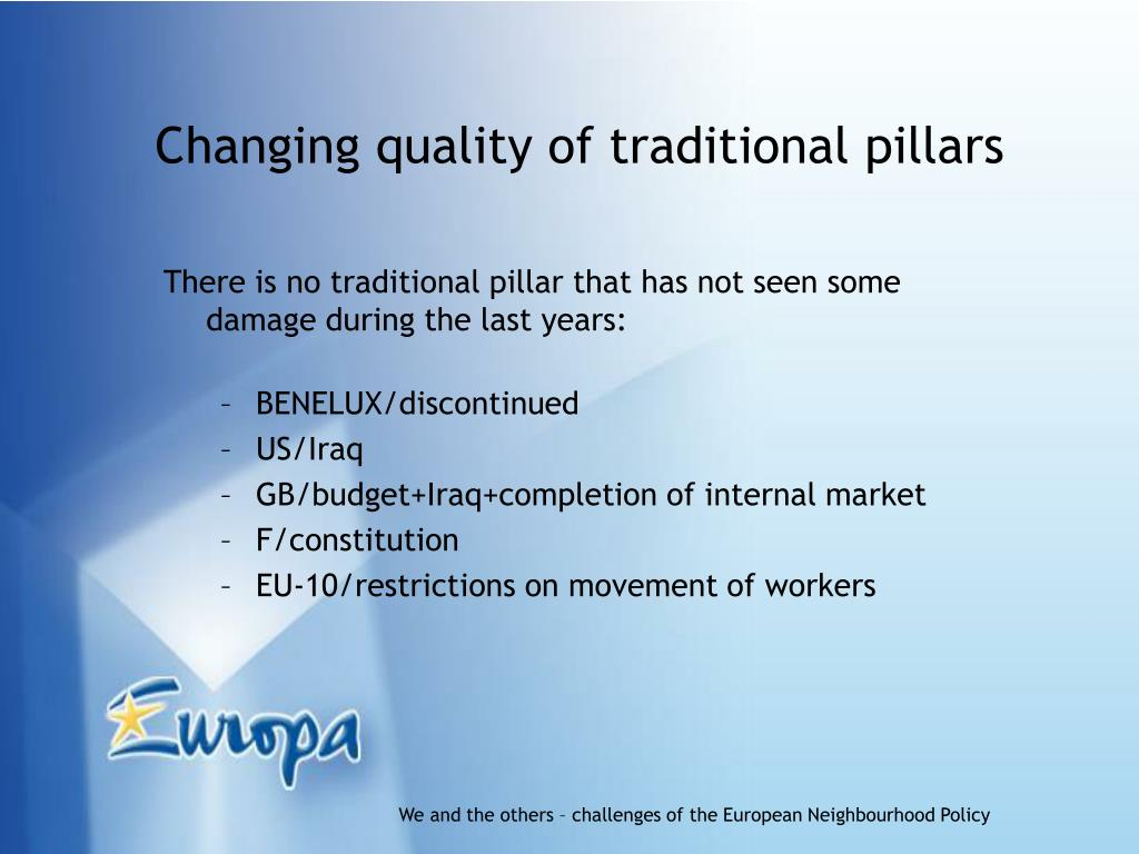 Changing quality of traditional pillars