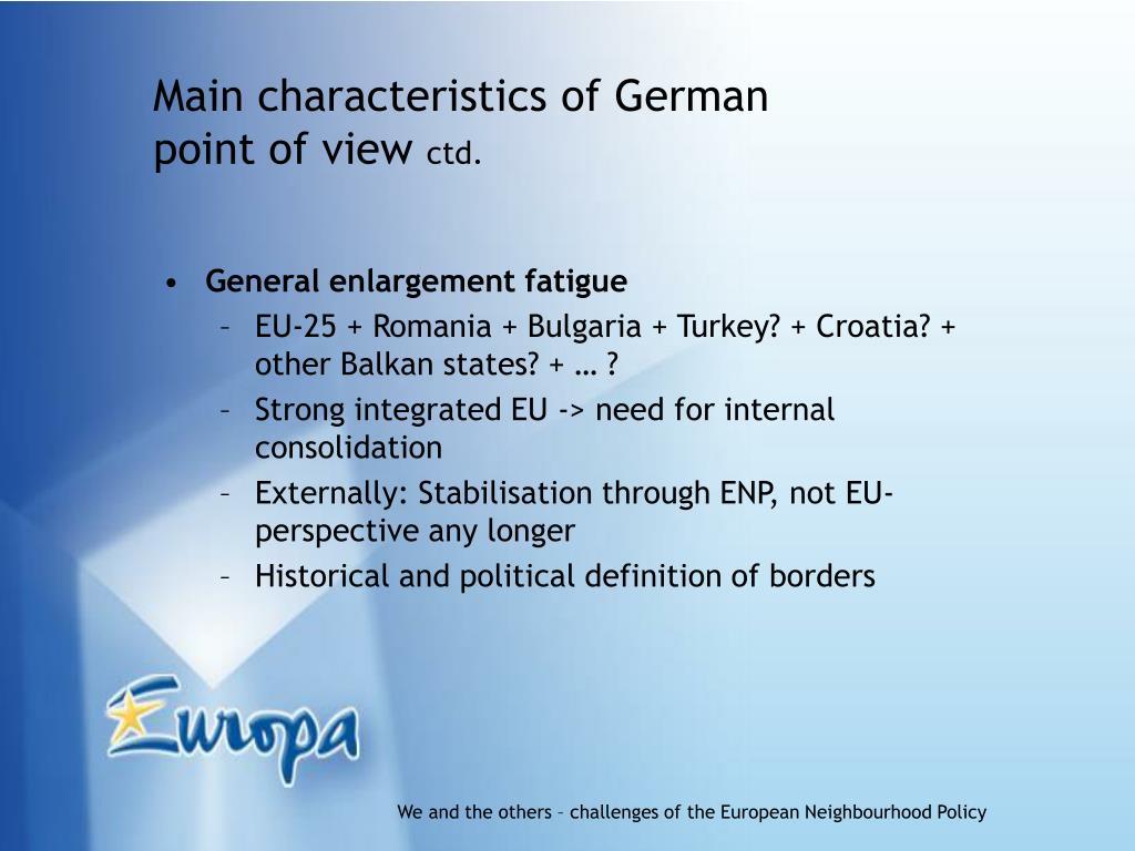 Main characteristics of German