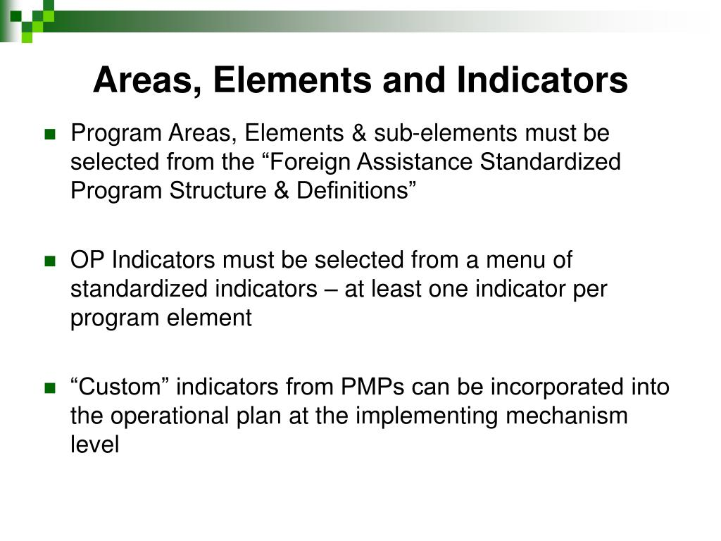 Areas, Elements and Indicators