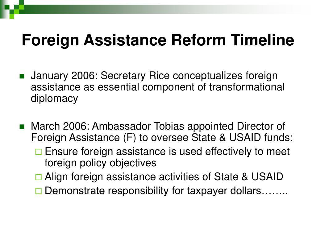 Foreign Assistance Reform Timeline