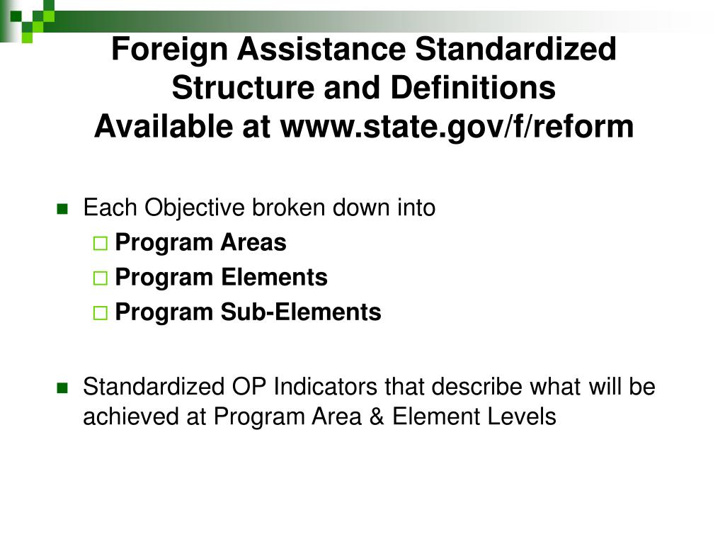 Foreign Assistance Standardized Structure and Definitions