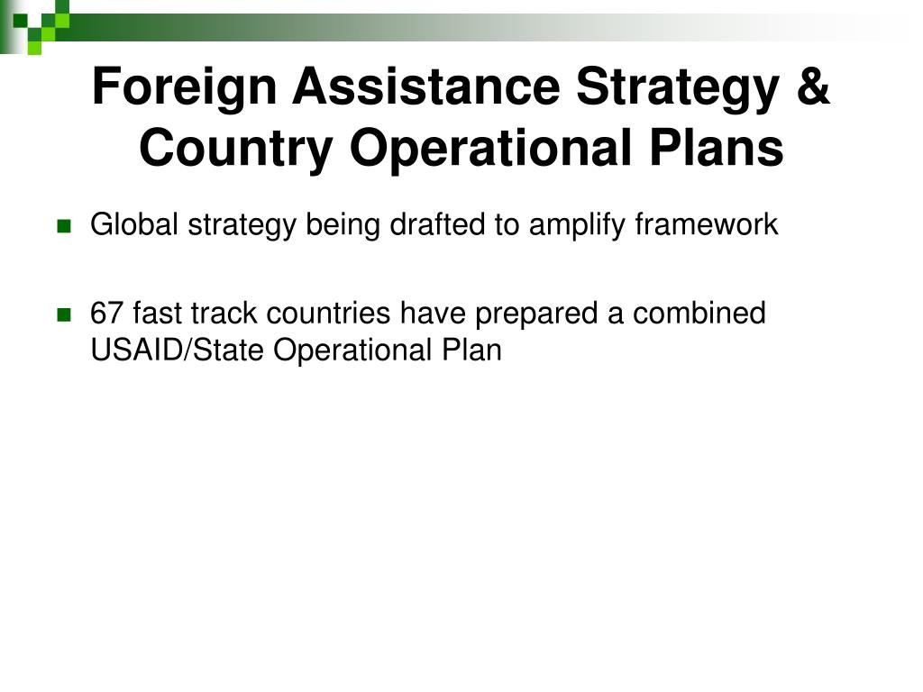 Foreign Assistance Strategy & Country Operational Plans