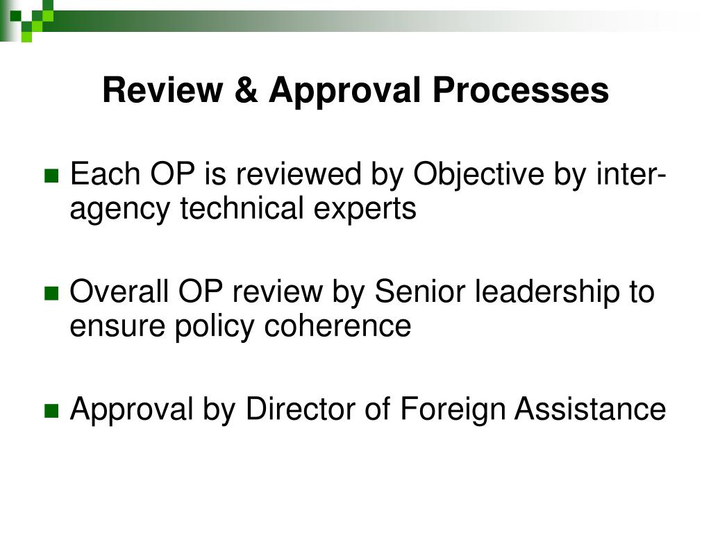 Review & Approval Processes