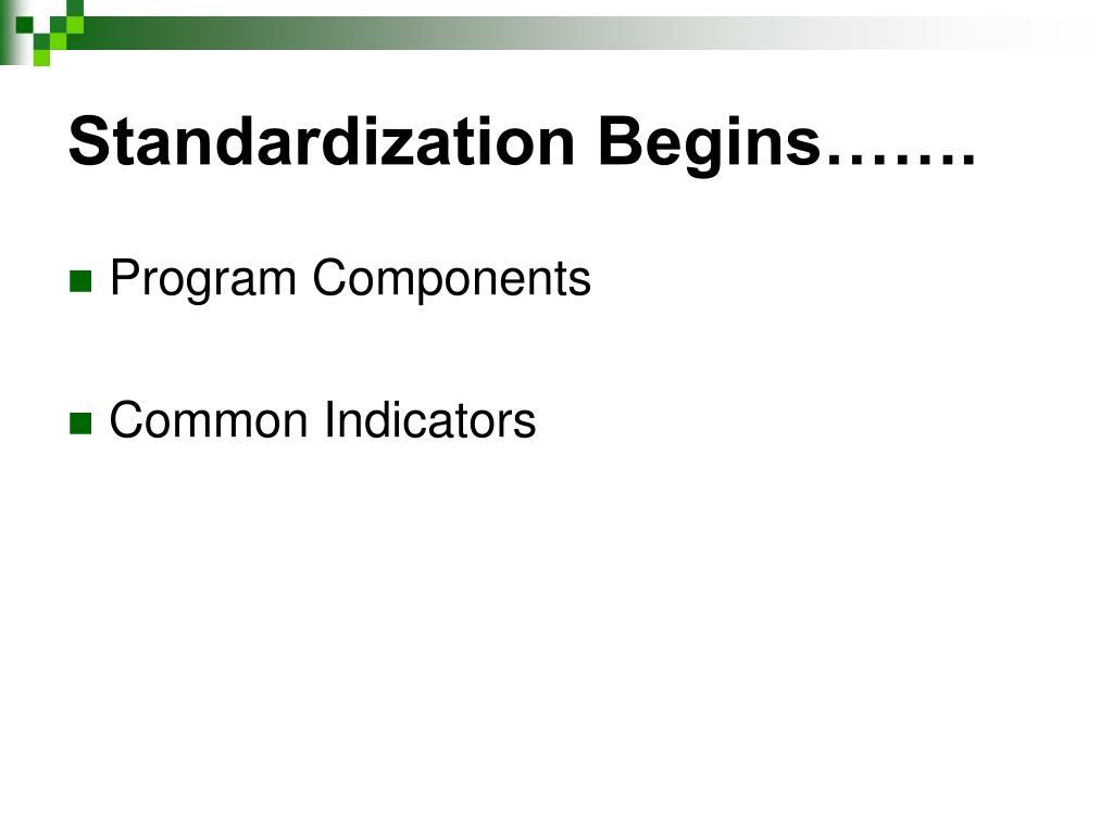 Standardization Begins…….