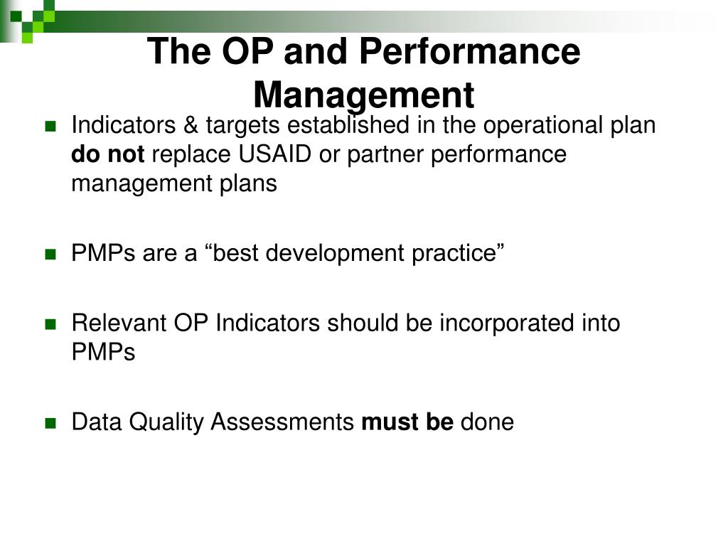 The OP and Performance Management
