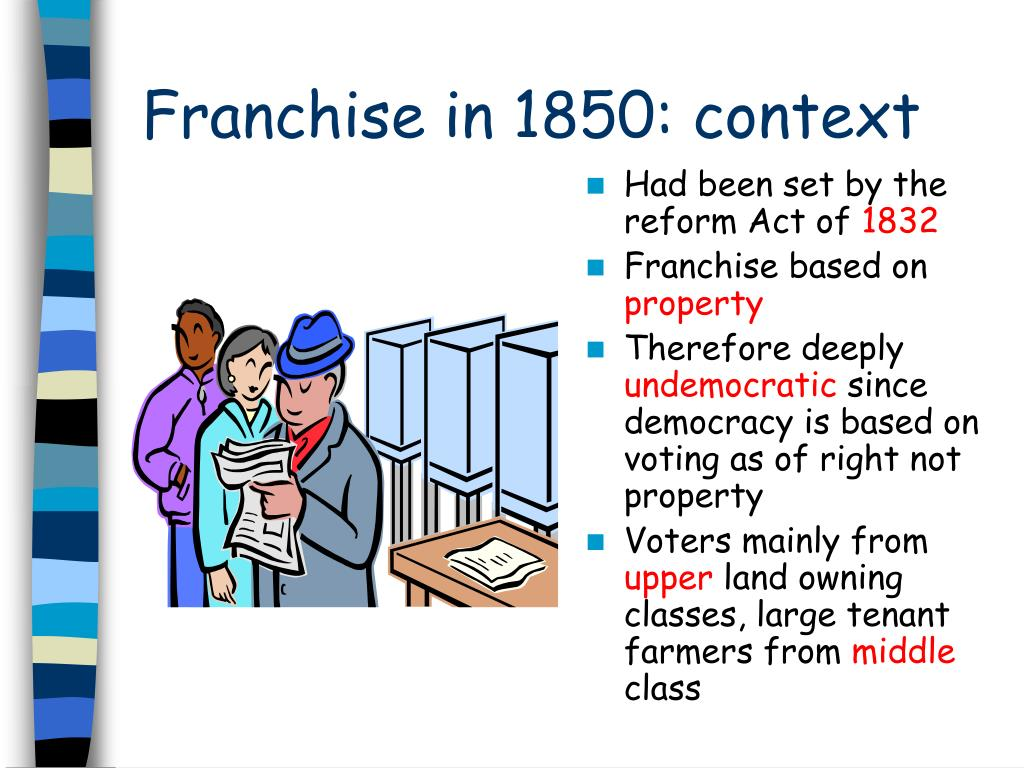 Franchise in 1850: context
