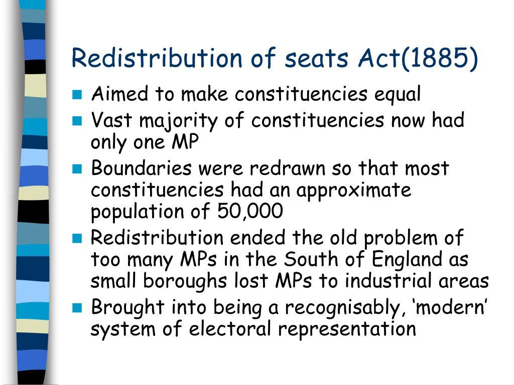 Redistribution of seats Act(1885)